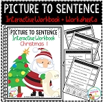 Picture to Sentence Interactive Workbook + Worksheets: Christmas ~Digital Download~